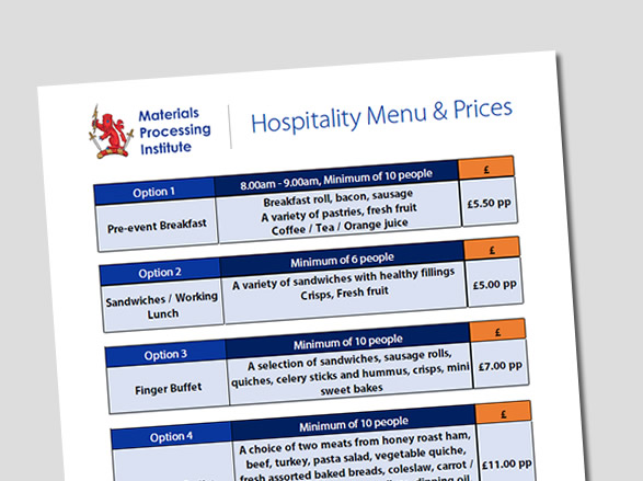 Download Hospitality Menu PDF