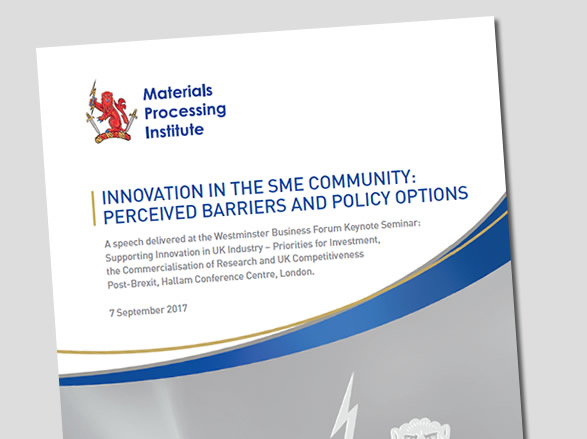 Innovation in the SME Community: Perceived Barriers and Policy Options - 7 September 2017