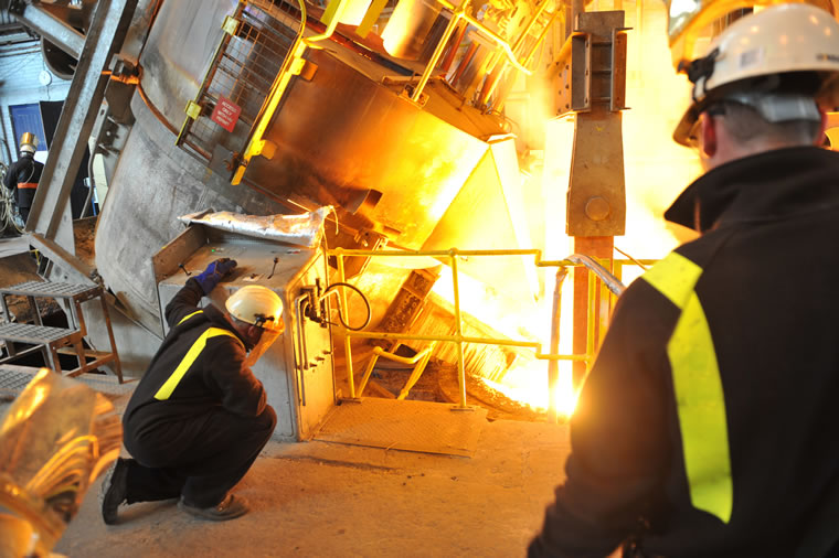Pouring from Electric Arc Furnace to Ladle