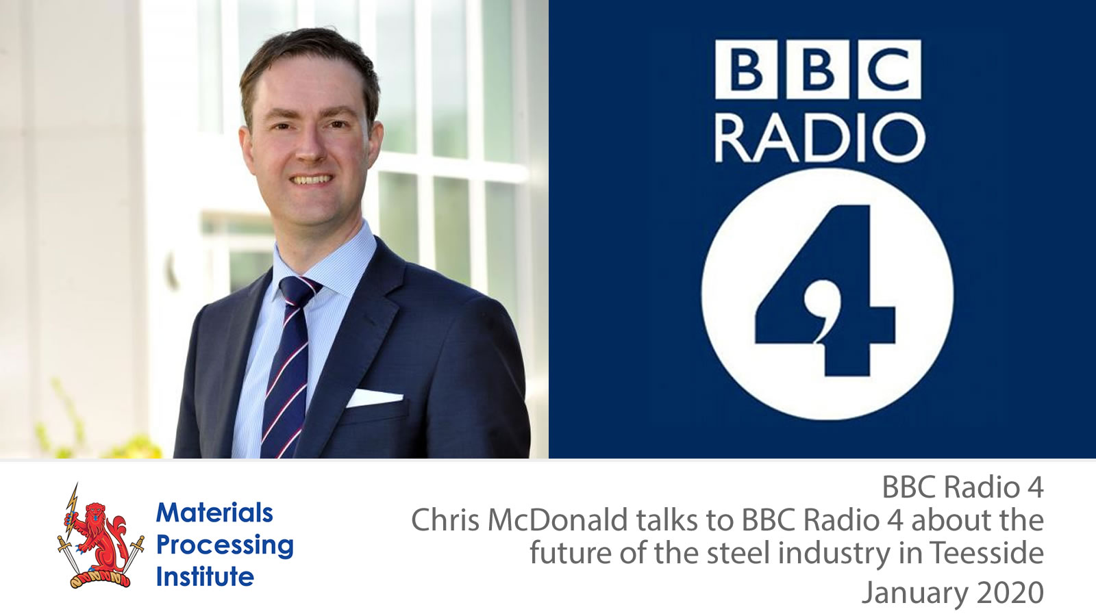 Chris McDonald of the Materials Processing Institute talks to BBC Radio 4 about the future of the steel industry in Teesside - January 2020