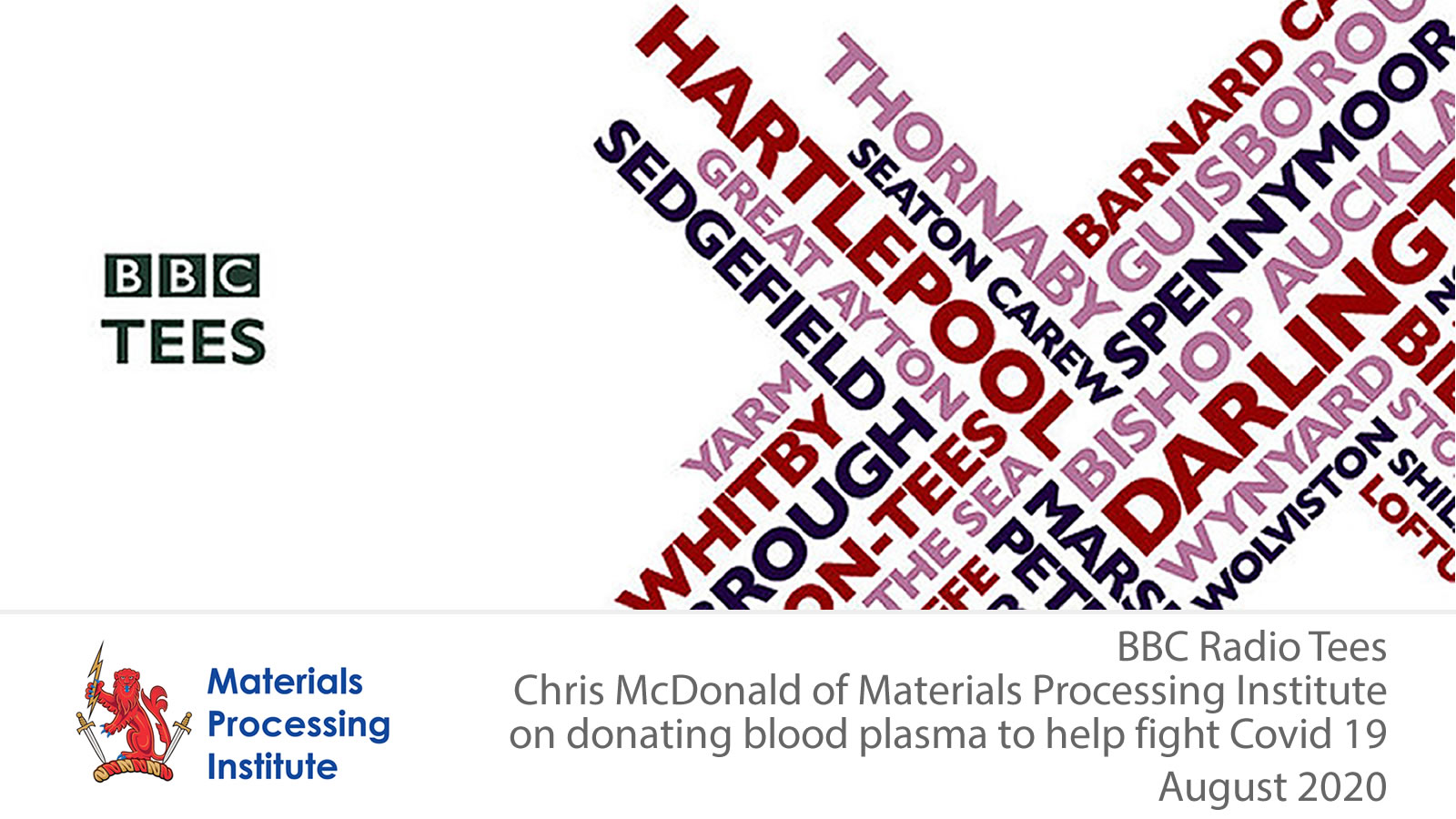 Chris McDonald of Materials Processing Institute on donating blood plasma to help fight Covid 19 - August 2020